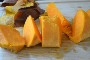 baked sweet potatoes, cubed