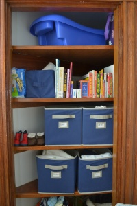 the funky closet set up to maximize space