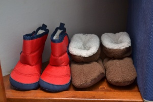 """""""winter"""" boots and fuzzy warm booties, both from Old Navy for $5."""